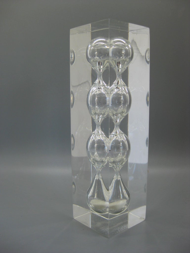 Lucite Hourglass Sand Timer Sculpture in the Manner of Charles Hollis Jones For Sale 3