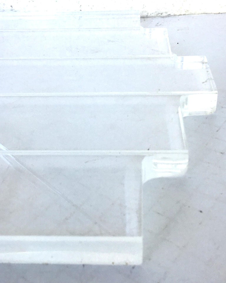70's Lucite Pair Of  Slab Carved