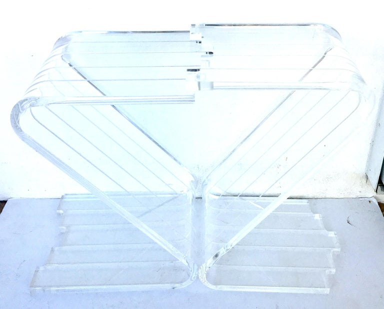 American 70's Lucite Pair Of  Slab Carved