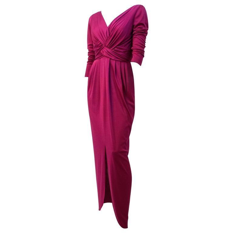 Women's 70s Magenta Jersey Dress For Sale