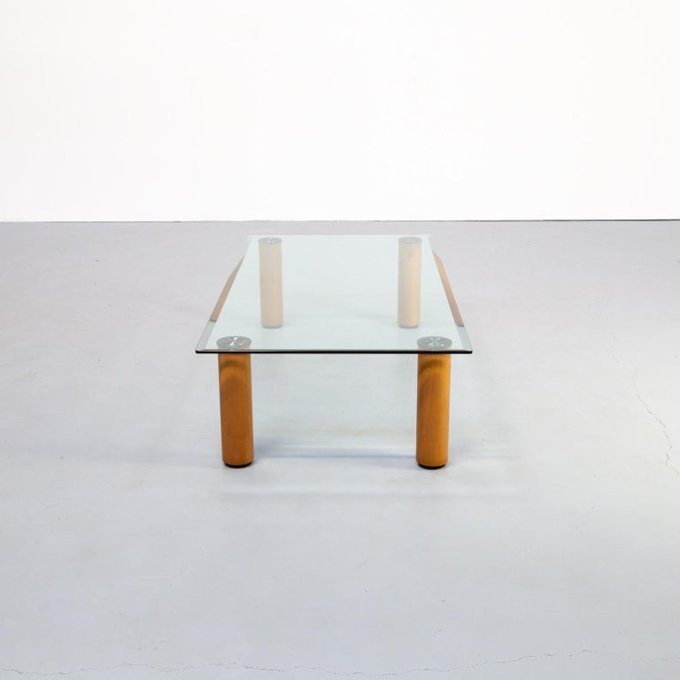 Beautiful glass coffee table by Marco Zanuso, designed in the 1970s Zanuso found a way to weld steel and crystal together. This innovative table is in good condition consists with age and use.