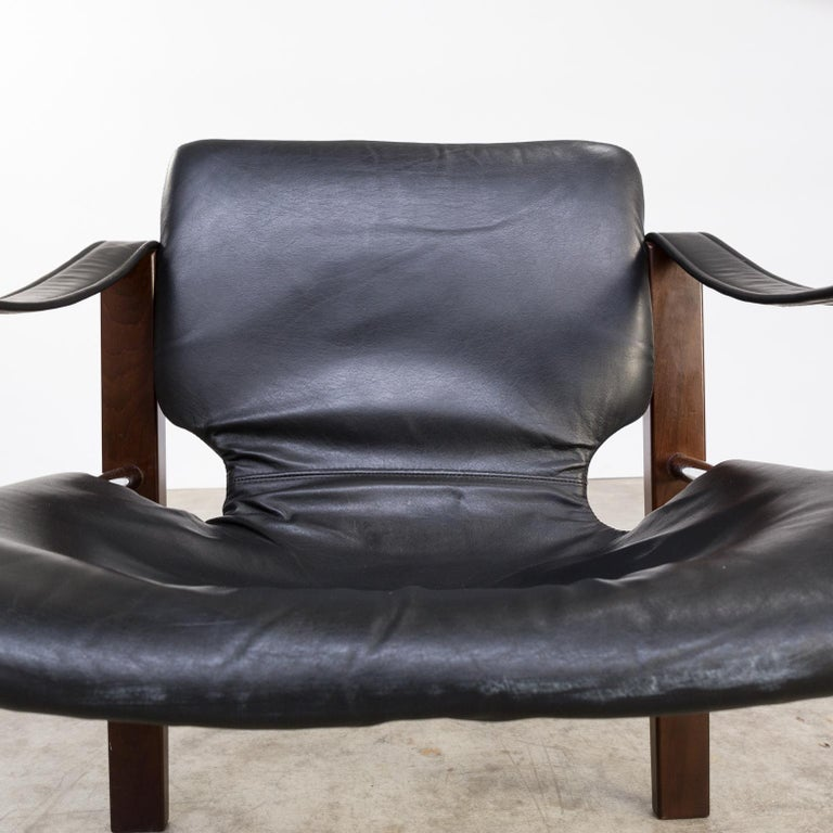 1970s Maurice Burke 'Chelsea' Black Leather Fauteuil/Safari Chair for Pozza Set For Sale 5
