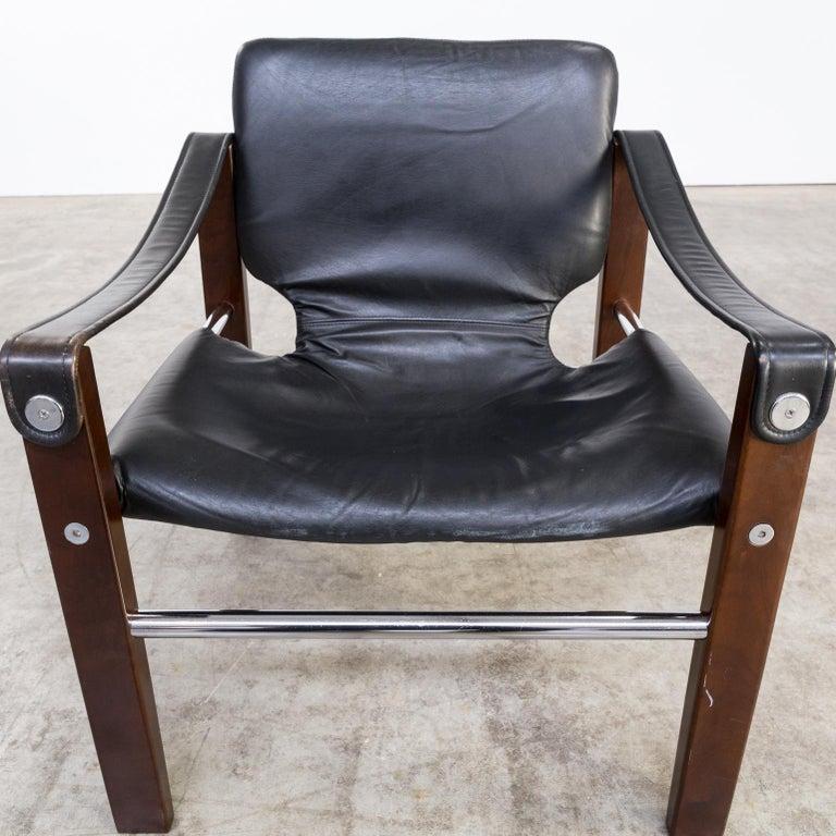 1970s Maurice Burke 'Chelsea' Black Leather Fauteuil/Safari Chair for Pozza Set For Sale 6