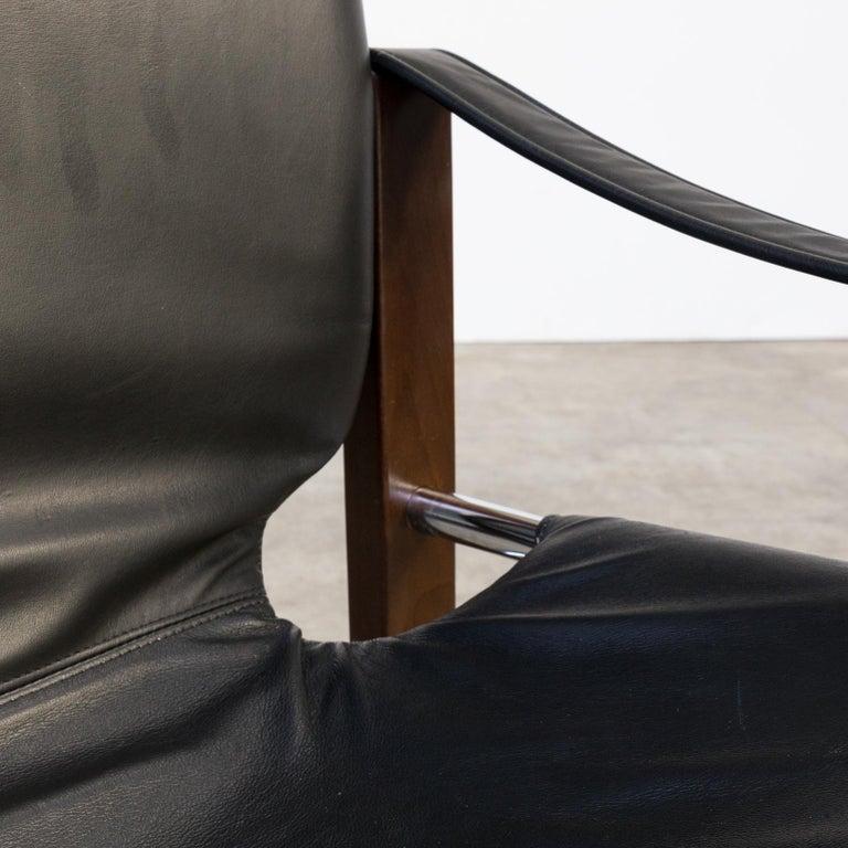 1970s Maurice Burke 'Chelsea' Black Leather Fauteuil/Safari Chair for Pozza Set For Sale 7