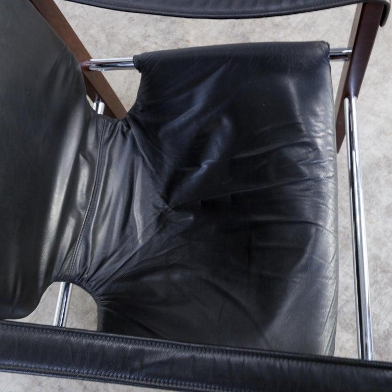 1970s Maurice Burke 'Chelsea' Black Leather Fauteuil/Safari Chair for Pozza Set For Sale 8