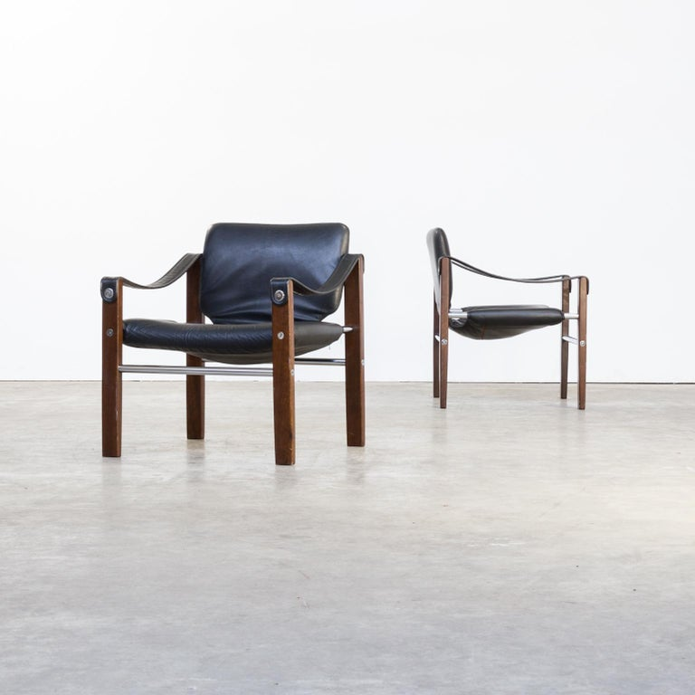 1970s Maurice Burke 'chelsea' black leather fauteuil / safari chair for Pozza set/2. Good condition consistent with age and use.
