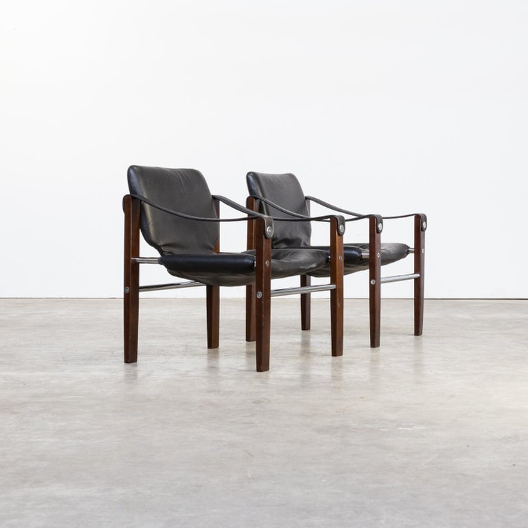 Brazilian 1970s Maurice Burke 'Chelsea' Black Leather Fauteuil/Safari Chair for Pozza Set For Sale