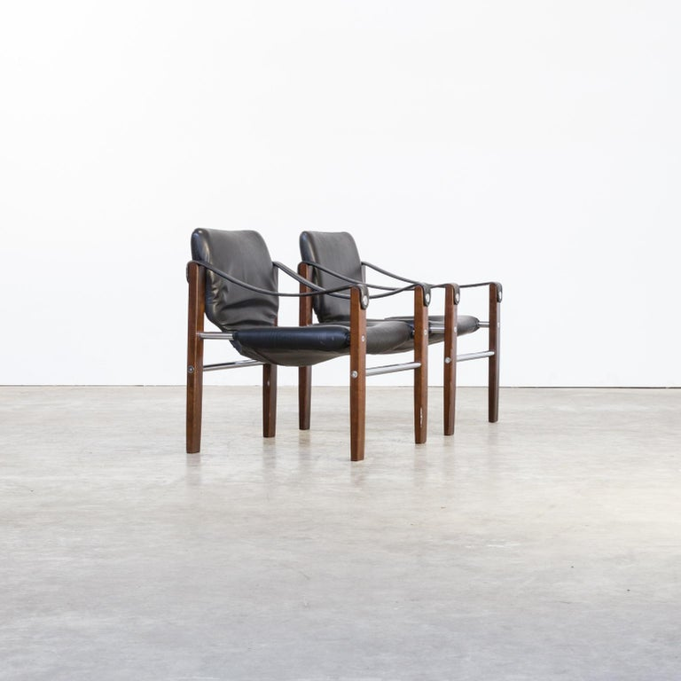 Mid-20th Century 1970s Maurice Burke 'Chelsea' Black Leather Fauteuil/Safari Chair for Pozza Set For Sale