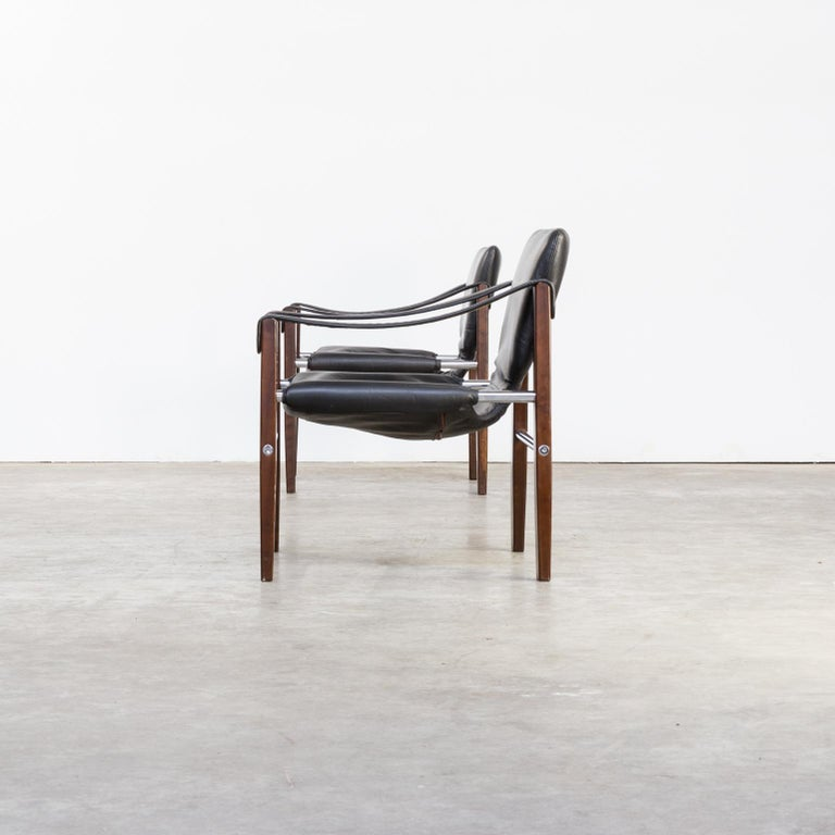 1970s Maurice Burke 'Chelsea' Black Leather Fauteuil/Safari Chair for Pozza Set For Sale 1