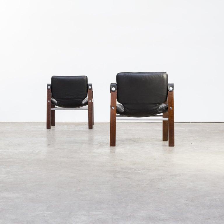 1970s Maurice Burke 'Chelsea' Black Leather Fauteuil/Safari Chair for Pozza Set For Sale 2