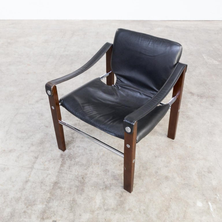 1970s Maurice Burke 'Chelsea' Black Leather Fauteuil/Safari Chair for Pozza Set For Sale 3