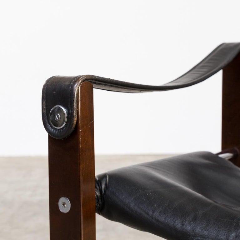 1970s Maurice Burke 'Chelsea' Black Leather Fauteuil/Safari Chair for Pozza Set For Sale 4