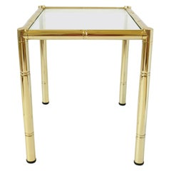 Brass and Glass Bamboo-Esque Side or End Table, Small, 1970s