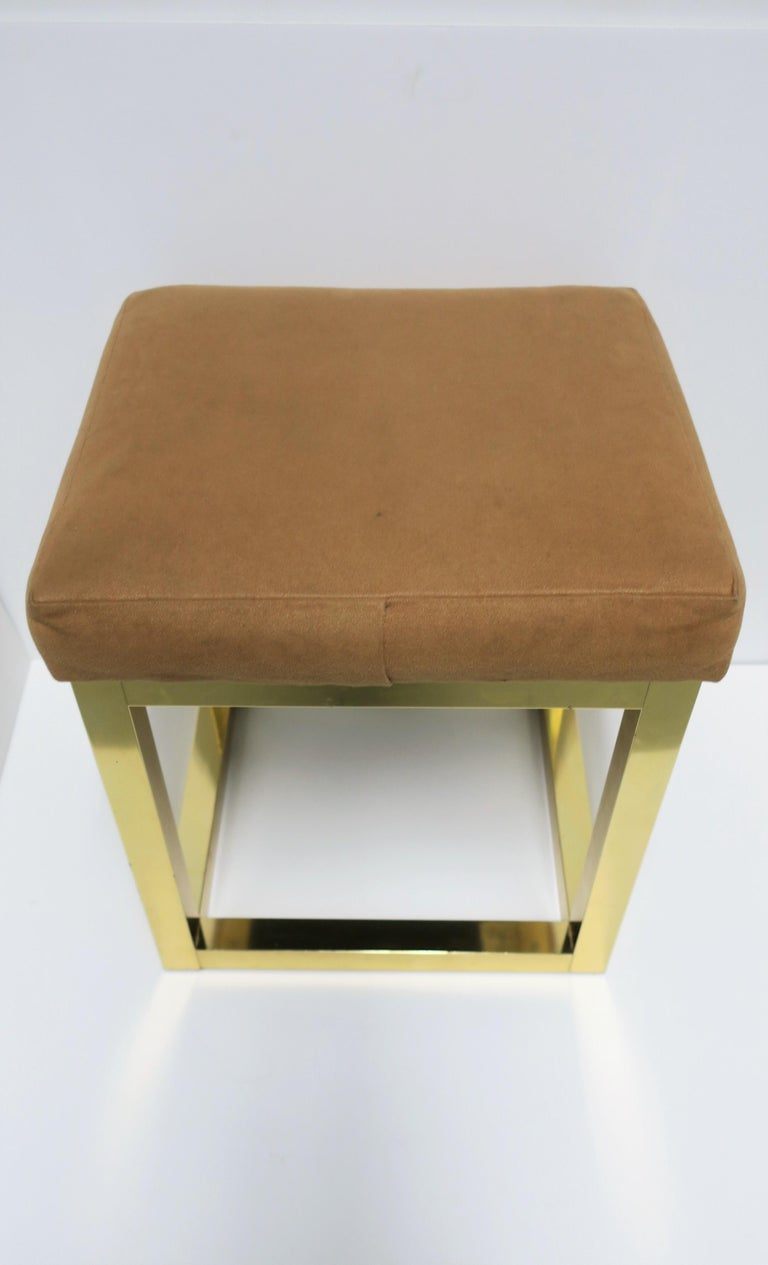 1970s Modern Brass Bench or Stool in the Style of Designer Paul Evans For Sale 7