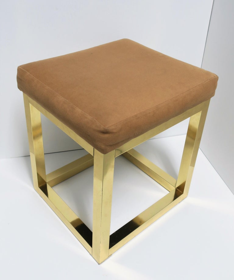 American 1970s Modern Brass Bench or Stool in the Style of Designer Paul Evans For Sale