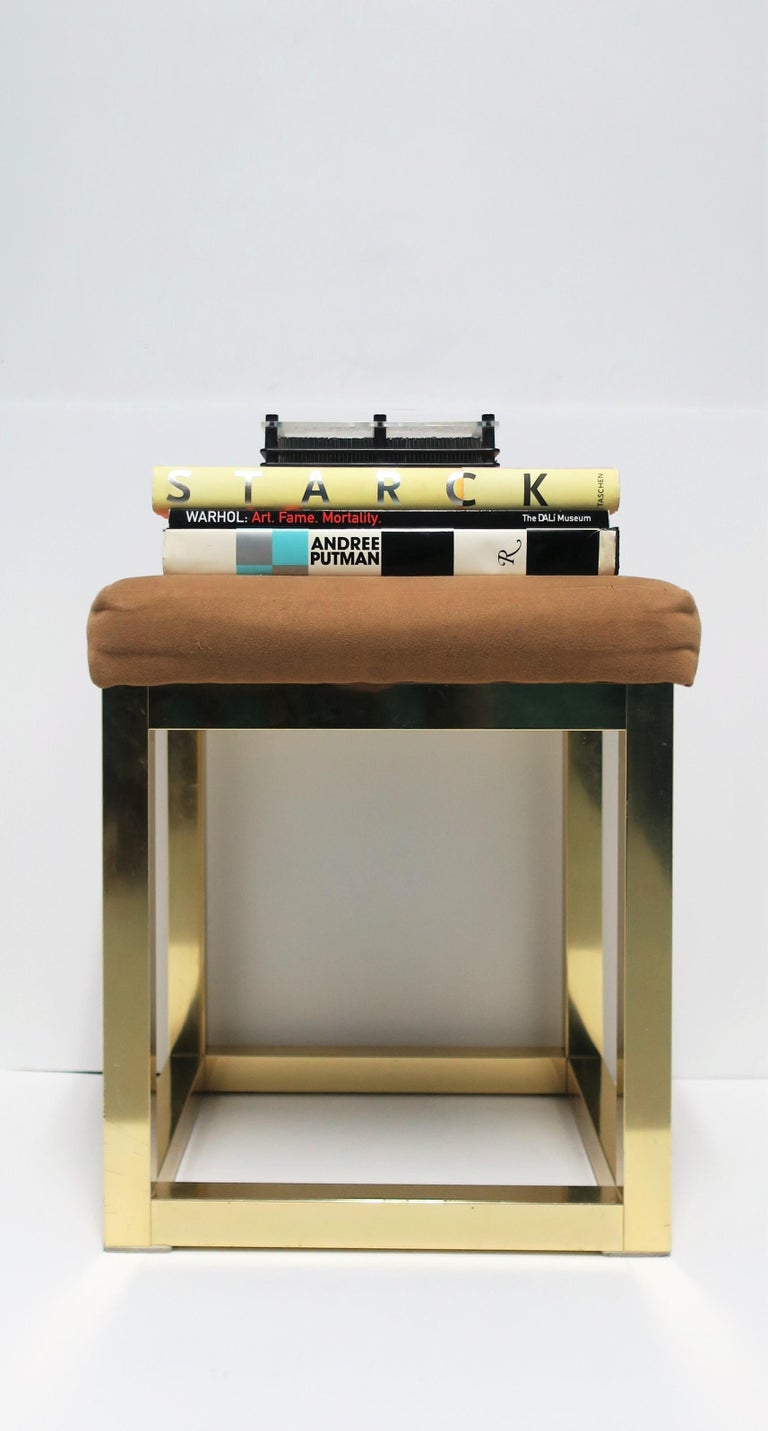 1970s Modern Brass Bench or Stool in the Style of Designer Paul Evans For Sale 1