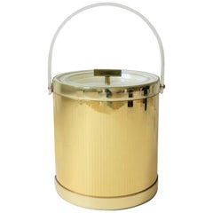 1970s Modern Lucite and Gold Disco Era Ice Bucket by Georges Briard