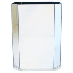 1970s Modern Mirrored Acrylic Wastebasket or Trash Can