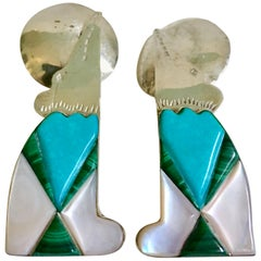 70'S Navajo Style Sterling Turquoise Malachite & MOP Earrings-Signed