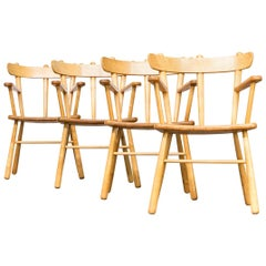 1970s Oak Round Wood Dining Chair Set of 4