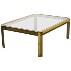 1970s Peter Ghyczy 'T09 embassy' Brutalist Brass and Glass Coffee Table