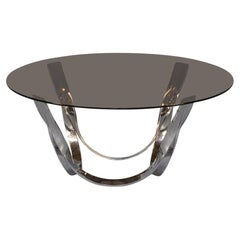 70s Roger Sprunger Brass and Glass Coffee Table for Dunbar Furniture