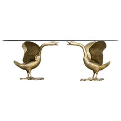 1970s Sculptural 'goose' Coffee Table with Glass Table Top