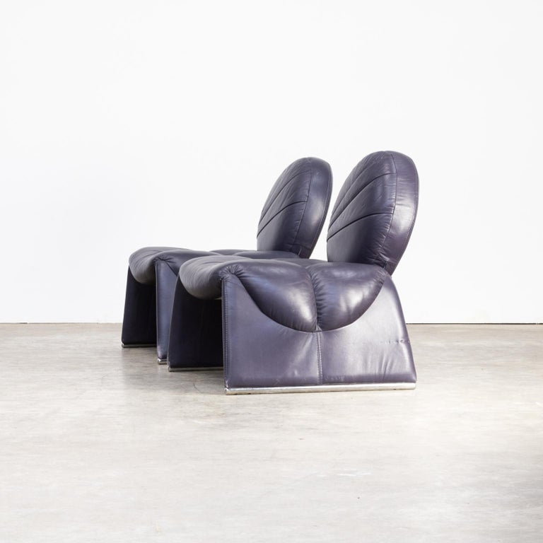 Modern Design Fauteuil.1970s Set Of Two Leather Calipso C35 Design Fauteuils