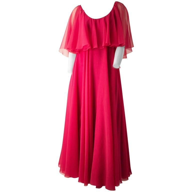 70s Shocking Pink Chiffon Ruffle Dress In Good Condition For Sale In San Francisco, CA