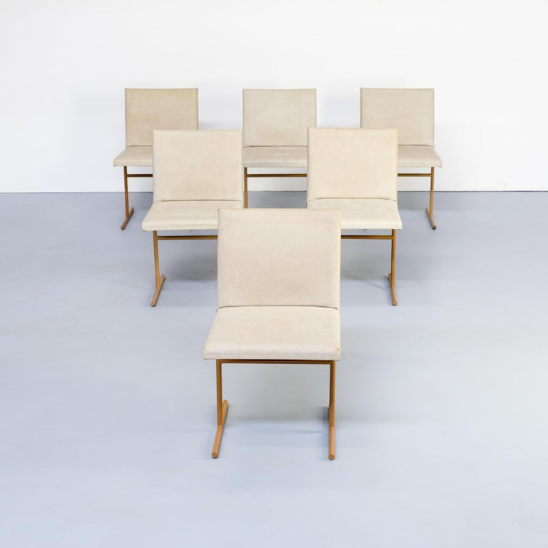 Design Stoelen Sale.1970s Skai And Metal Postmodern Dining Chairs Set Of 6 For Sale
