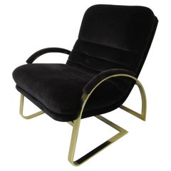 70's Upholstered Brass Lounge Chair in the Style of Pace