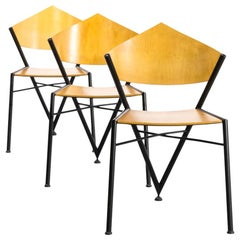 1970s Very Rare Metal Framed and Plywood Seating Tripod Chair Set of 3