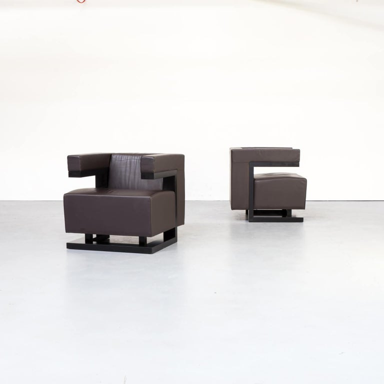 One set of two Walter Gropius 'F51 armchair' for Tecta. The F51 shows a lot of comfort in square form, a quality in design directly te result of drawing buildings which Gropius made as well known as with his furniture designs. This set is unique and