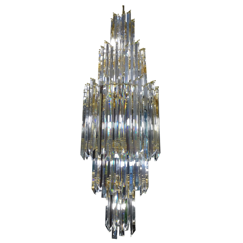70s White Venini Chandelier Murano Glass, Italy