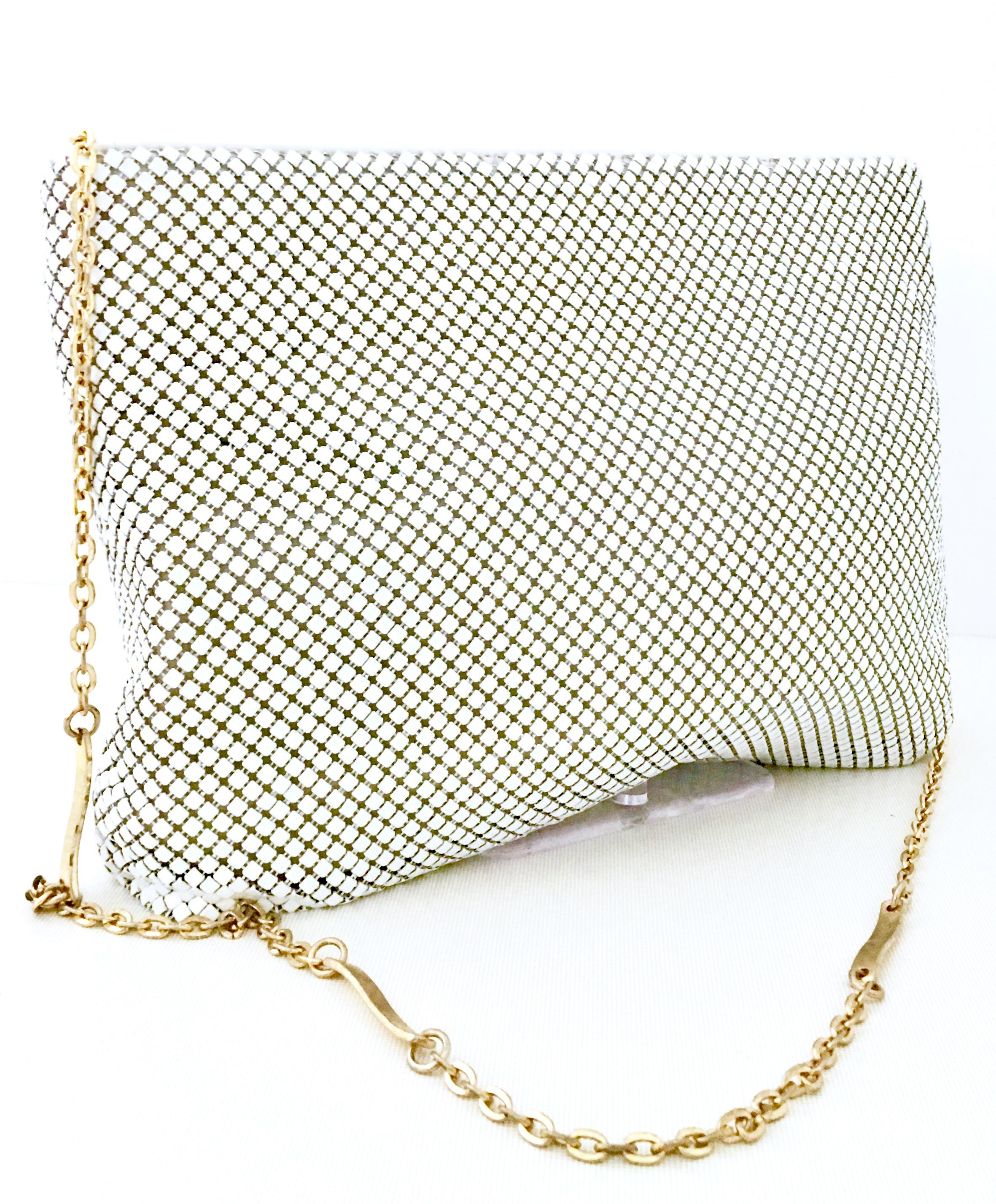 70 S Whiting And Davis White Metal Mesh Gold Chain Link