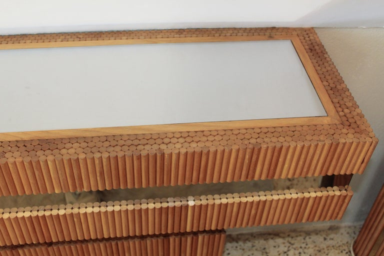 American 1970s Wood Dowel and Polished Chrome Wall Console by Ernest Masi For Sale