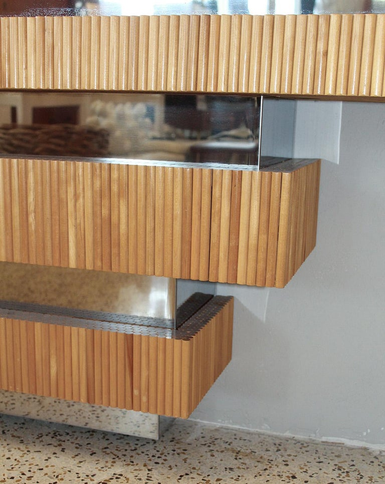 1970s Wood Dowel and Polished Chrome Wall Console by Ernest Masi For Sale 1