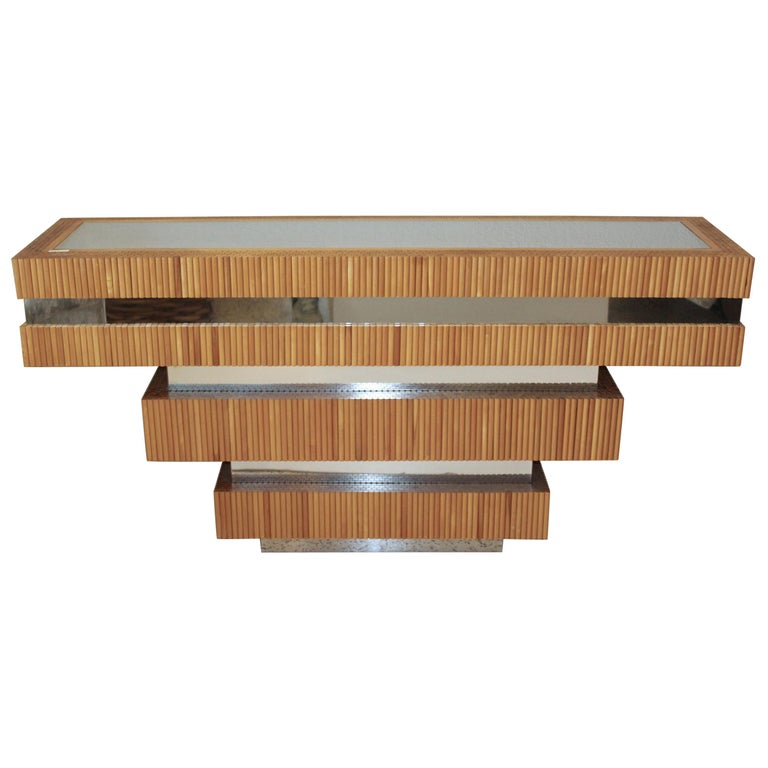 1970s Wood Dowel and Polished Chrome Wall Console by Ernest Masi For Sale