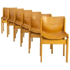 1970s Wooden Framed Saddle Leather Chairs for Ibisco Set of 6
