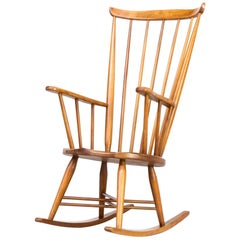 1970s Wooden Rocking Chair X Frame