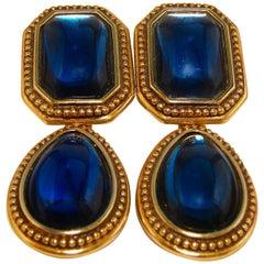 70s Yves Saint Laurent Blue Glass Cabochon & Gold Metal Drop Earrings