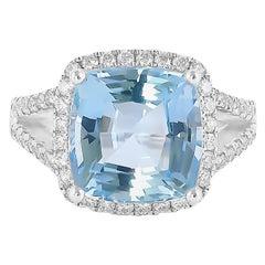 7.1 Carat Aquamarine and Diamond Ring in 18 Karat White Gold