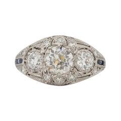 .71 Carat Art Deco Diamond Platinum Engagement Ring