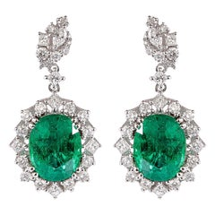 7.1 Carat Emerald and Diamond Earrings in 18 Karat White Gold