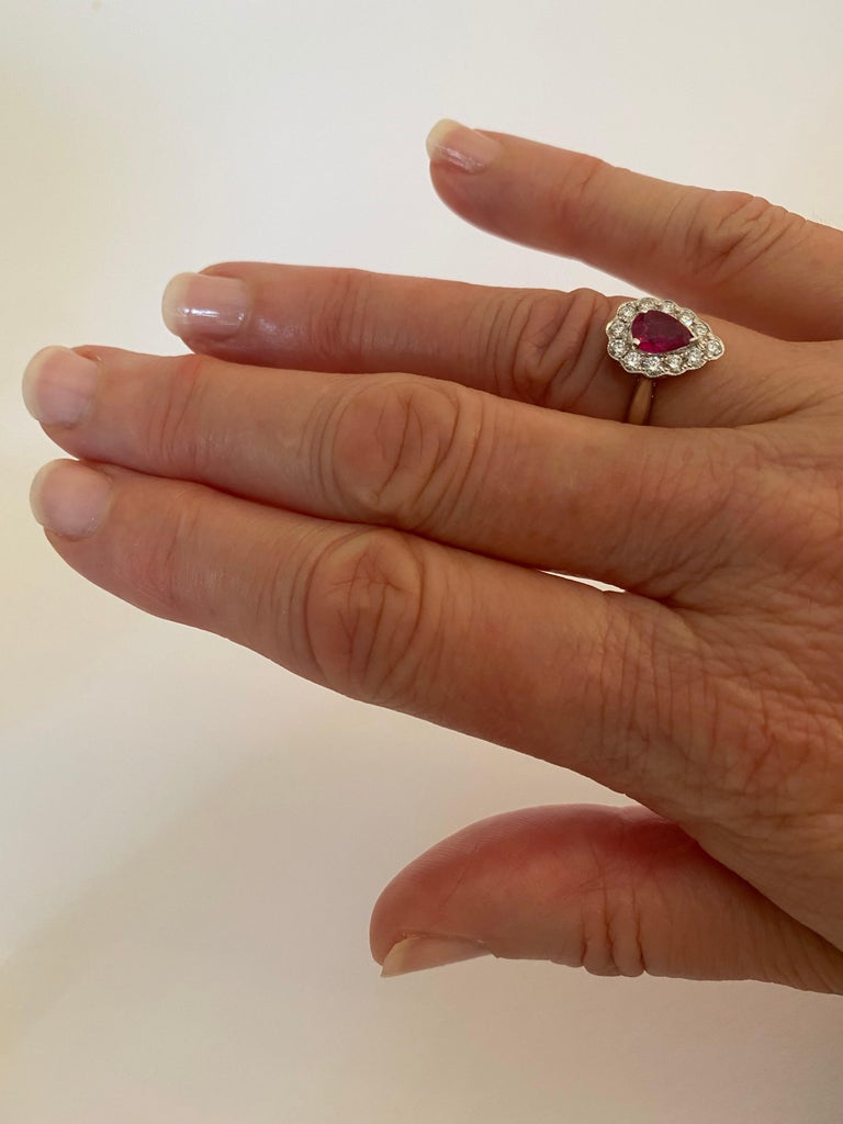 .71 Carat Pear Cut Ruby Set in 0.36 Carat Diamond Surround of 18 Carat Gold For Sale 5