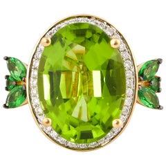 7.1 Carat Peridot with Tsavorite and Diamond Ring in 18 Karat Yellow Gold