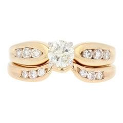 .71 Carat Round Brilliant Diamond Ring and Wedding Band, 14 Karat Yellow Gold