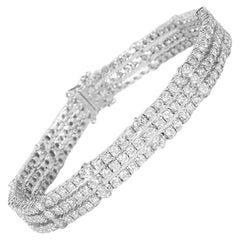 7.10 Carat 3 Row G VS2 Round Brilliant Diamond Tennis Bracelet