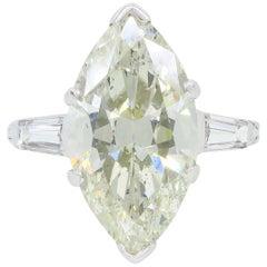 7.10 Carat Antique Marquise Cut Diamond Engagement Ring