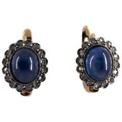 7,10 Karat Blauer Saphir, 0,3 Karat Diamant Gelbgold Klappbrisur-Ohrringe